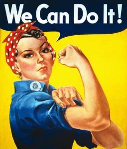 """Famoso Poster antiguo de ilustración de una mujer con un pañuelo rojo sobre su cabeza, flexionando su brazo, con la leyenda """"We can do it!"""" (nosotras podemos hacerlo)"""
