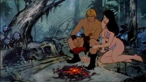 Captura de pantalla de la película animada de 1983: Fire and Ice, mostrando un hombre y una mujer primitivos sentados junto a una fogata
