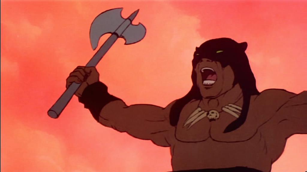 Captura de pantalla de la película animada de 1983: Fire and Ice, que muestra un cavernicola guerrero con un hacha
