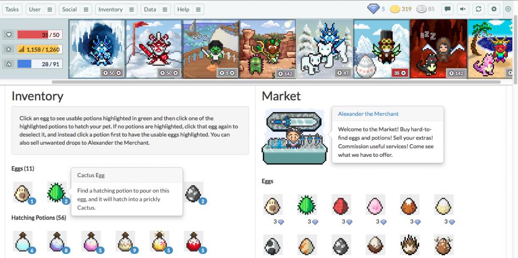 Pantalla del mercado para comprar items