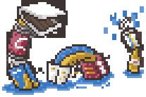 Pixel art de una especie de monstruo del lago ness hecho de snacks