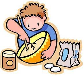 Caricatura de niño cocinando un pastel
